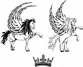 foto of pegasus  - pegasus horse sticker tattoo set in vectro format cery easy to edit - JPG