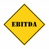 stock photo of amortization  - A yellow and black diamond shaped road sign with the word EBITDA making a great concept - JPG