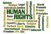 picture of slavery  - Human Rights word cloud on white background - JPG