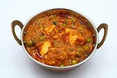 picture of paneer  - PEAS AND COTTAGE CHEESE VEGETARIAN CURRY DISH - JPG
