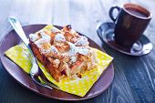 picture of pie-in-face  - apple pie on the plate and coffee in cup - JPG