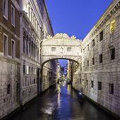 image of gondola  - Gondolas passing under Bridge of Sighs - JPG