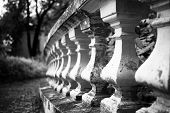 pic of balustrade  - Old stone balustrade in the park closeup - JPG