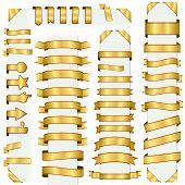 stock photo of adornment  - big collection of design retro banners gold - JPG