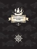 foto of galleon  - vector cover menu for the restaurant with a pirate sailing ship and fish - JPG