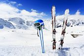pic of apr  - Winter mountains and ski equipments on ski slope - JPG