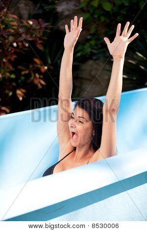 Woman On Waterslide