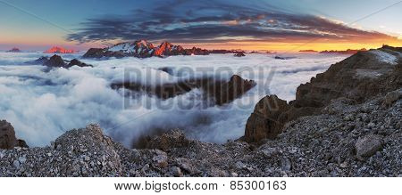 Beautiful Spring Landscape In The Mountains. Sunset - Italy Dolomites