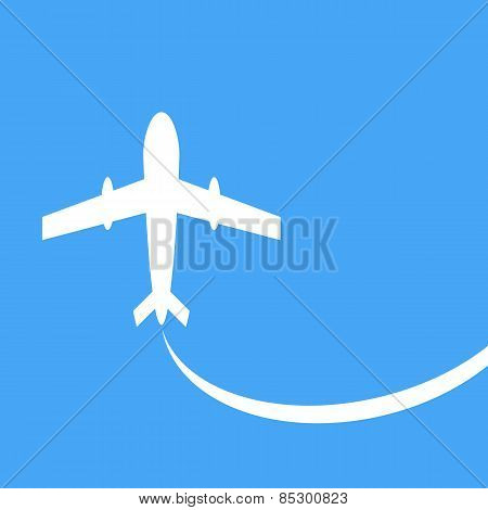 Vector Silhouette Of A Passenger Plane, On A Blue Background.