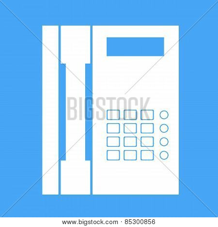 Landline Phone On A White Background. Vector Illustration.