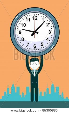 Man with clocks symbolizing time management, productivity, planning and scheduling.
