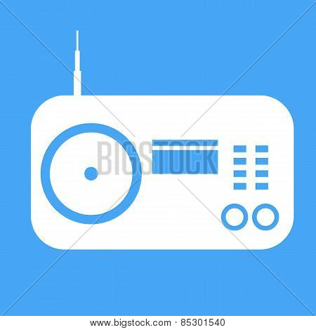 Vector Radio Icon On Blue Background.