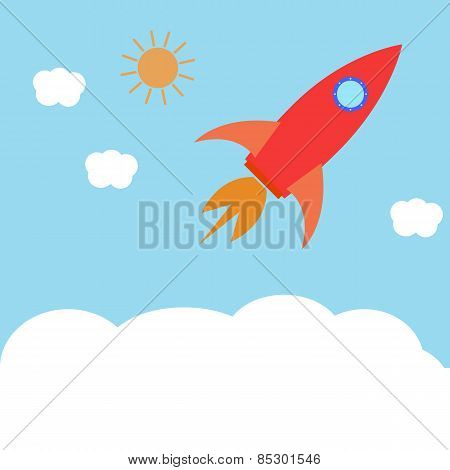 Space Rocket Flying In The Sky. The Concept Of Business Success, Start. Vector Illustration.