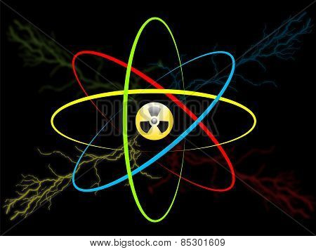 Atom Symbol. Vector Atom Radiation