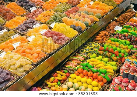 Market stall with sweets