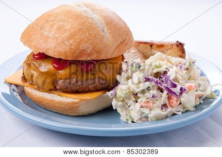 Cheeseburger With Cole Slaw And Fries