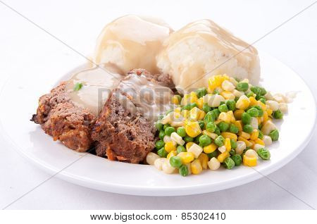 Meatloaf, Mashed Potatoes And Gravy