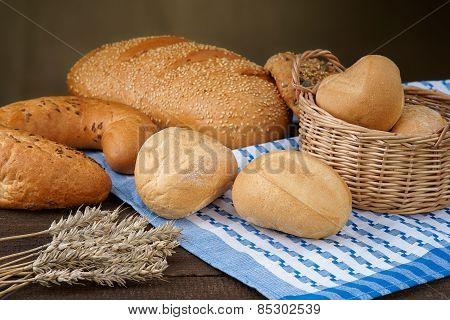 Baking products on the tablecloth