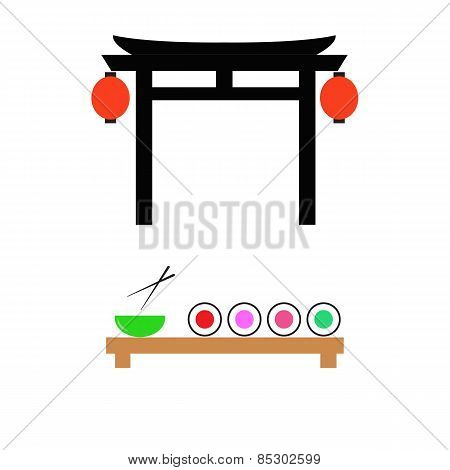 Japanese Gate And A Table With Sushi. Vector Illustration.
