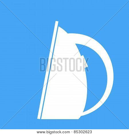 Iron On A Blue Background. Vector Illustration.