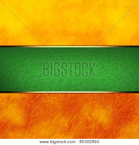 Colorful Orange Abstract Background With Green Nameplate With Gold Trim