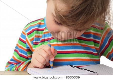 Little Caucasian Girl In Multicolored Shirt Painting, Half Body, Isolated On White