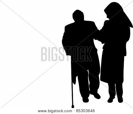 muslim lady with scarf, helping old man