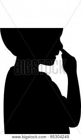 a boy picking his nose, silhouette vector
