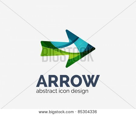 Clean moden wave design arrow company logo, business icon made of overlapping elements