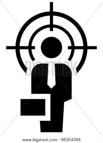 Man under crosshair