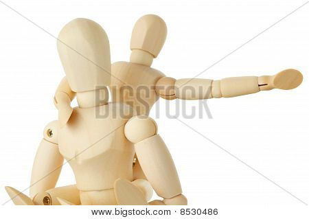 Wooden Figures Of Child Sitting On Back Of His Parent And Pointing For One Hand Right, Half Body