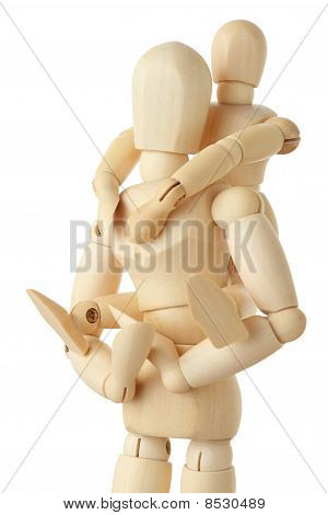 Wooden Figures Of Child Sitting On Back Of His Parent And Embracing Him, Half Body, Isolated
