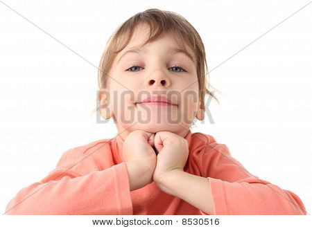 Portrait Of Cute Little Girl In Thin Sweater, Half Boby, Chin On Hands, Isolated On White