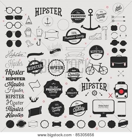 Hipster style icon and labels set