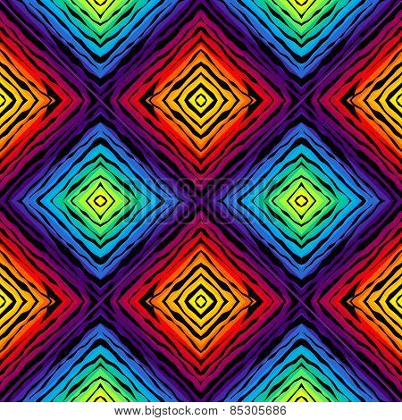 Abstract exotic pattern on rainbow colorful background.