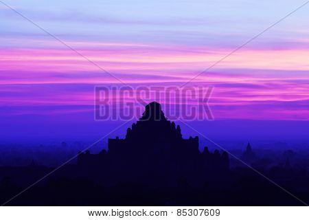 Silhouette Of Ancient Dhammayangyi Pahto Pagoda At Sunset In Bagan Archaeological Zone, Myanmar