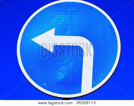 Road sign: turn to the left