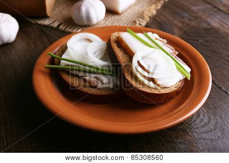 Sandwiches with lard on plate and garlic on table close up