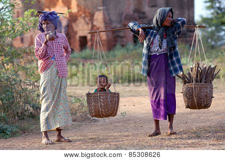 Burmese Women In Bagan, Myanmar
