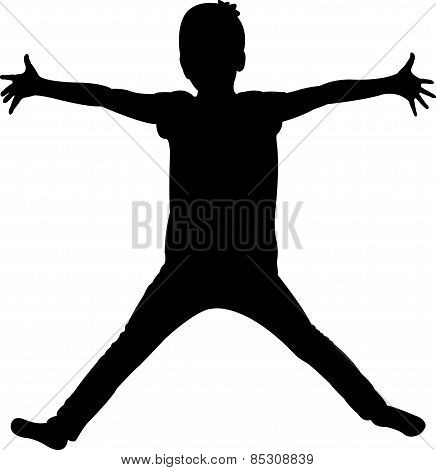 open hand, child body silhouette vector
