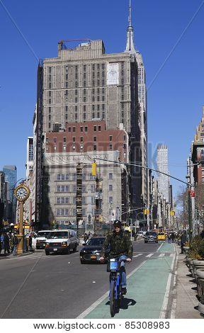 Citi bike rider at Madison Square in Lower Manhattan.