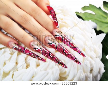 Red Design On  Nails.