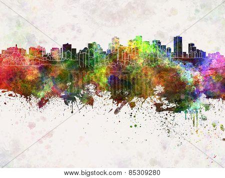 Edmonton Skyline In Watercolor Background