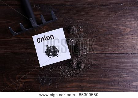Onion seeds on piece of paper with ground and rake on wooden background