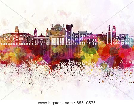 Trieste Skyline In Watercolor Background