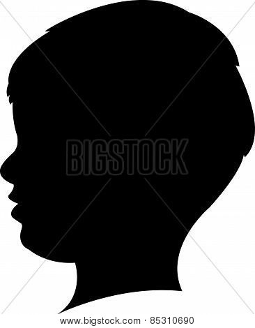 a boy head black color silhouette vector