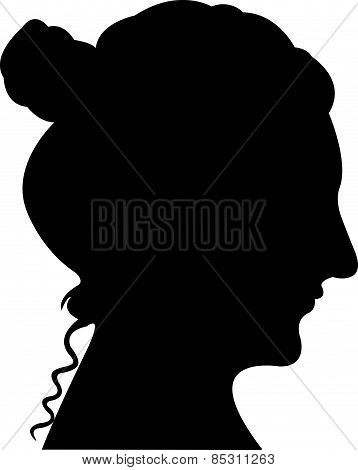 a lady head black color silhouette vector