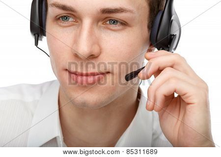 Portrait Of Male Customer Service Representative Or Call Center Worker Or Operator Or Support Staff