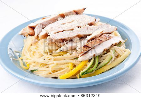 Zucchini Pasta With Fresh Chicken And Parmesan
