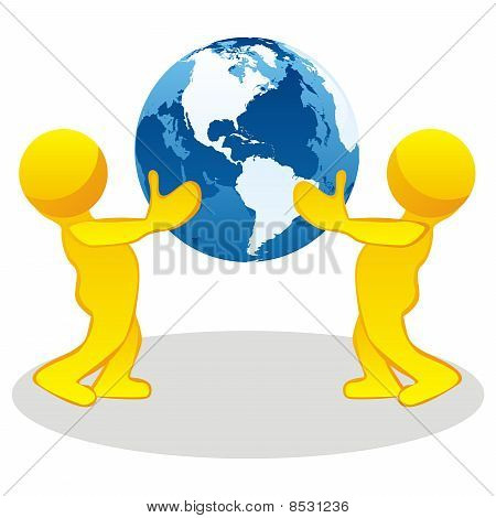 stylized people holding earth globe